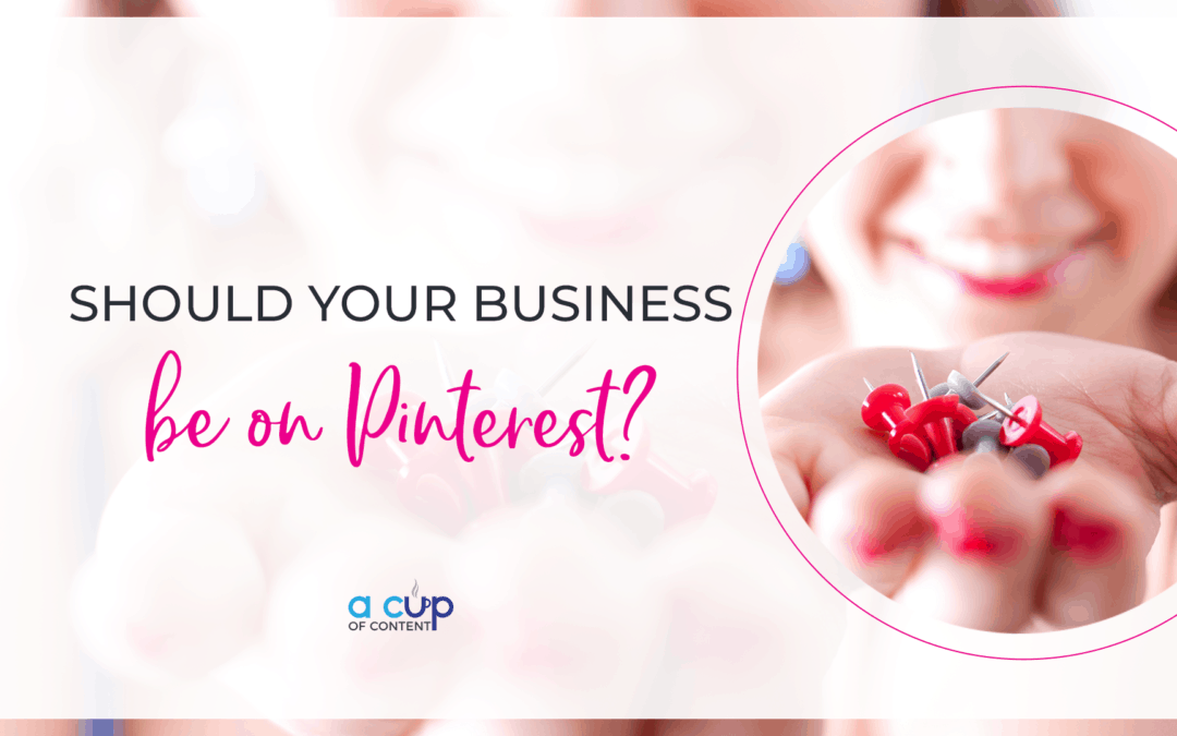 "Header image for blog with ""should your business be on pinterest"""