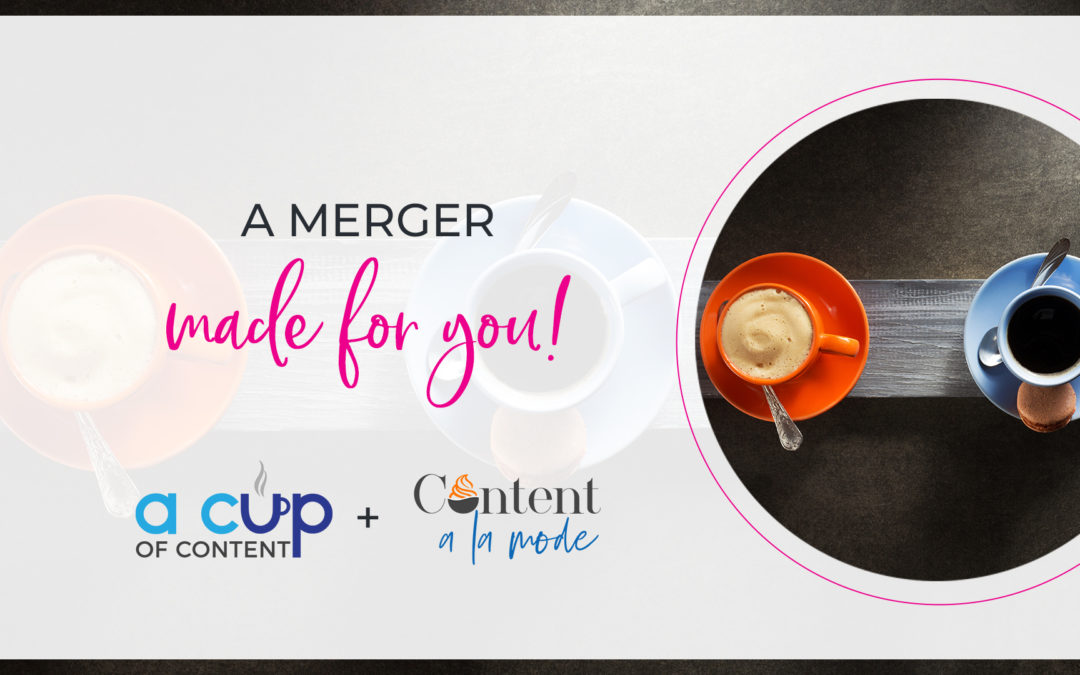 aerial view of an orange and a blue coffee cups with content a la mode and a cup of content's logos to discuss the merger of the two companies