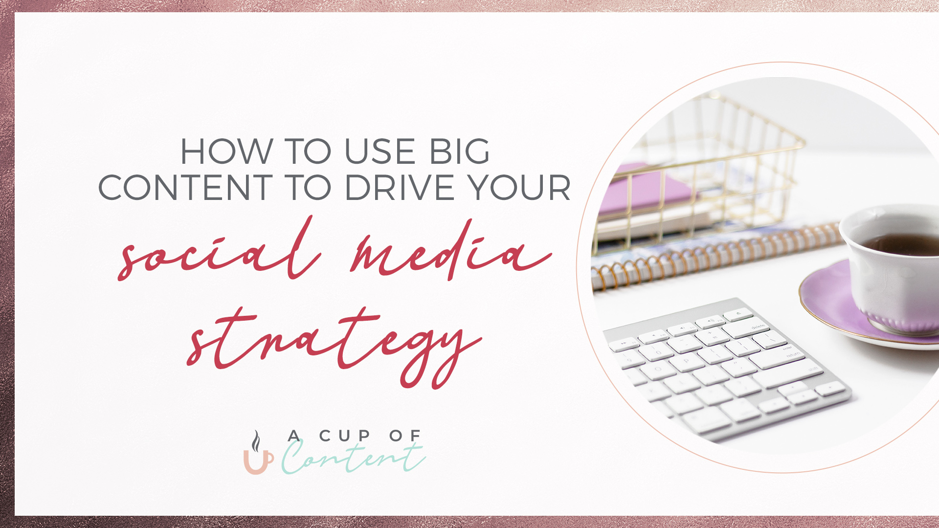 "Header image for blog by A Cup of Content that says ""How to use ""big content"" to drive your social media strategy"""