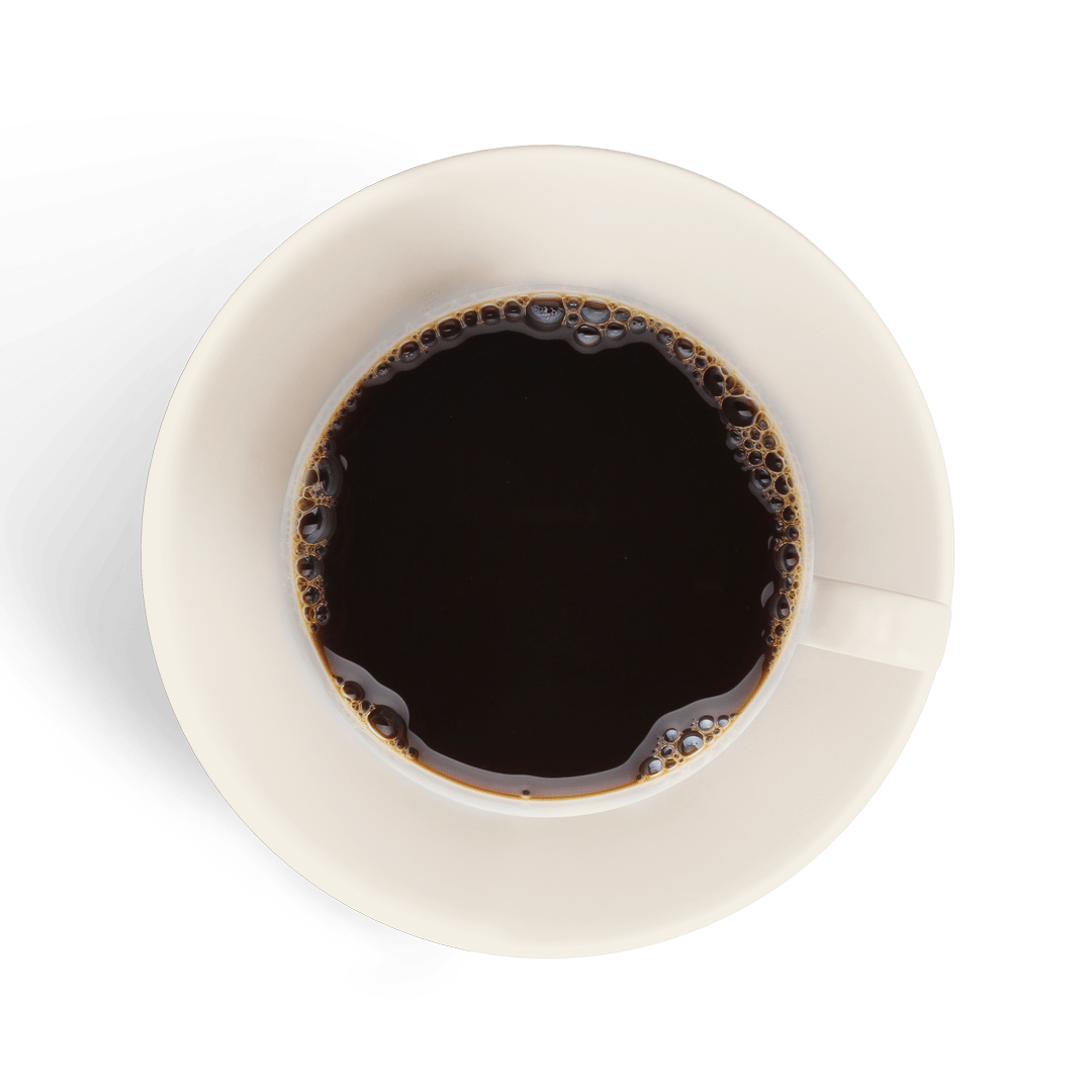 black coffee in a white cup isolated