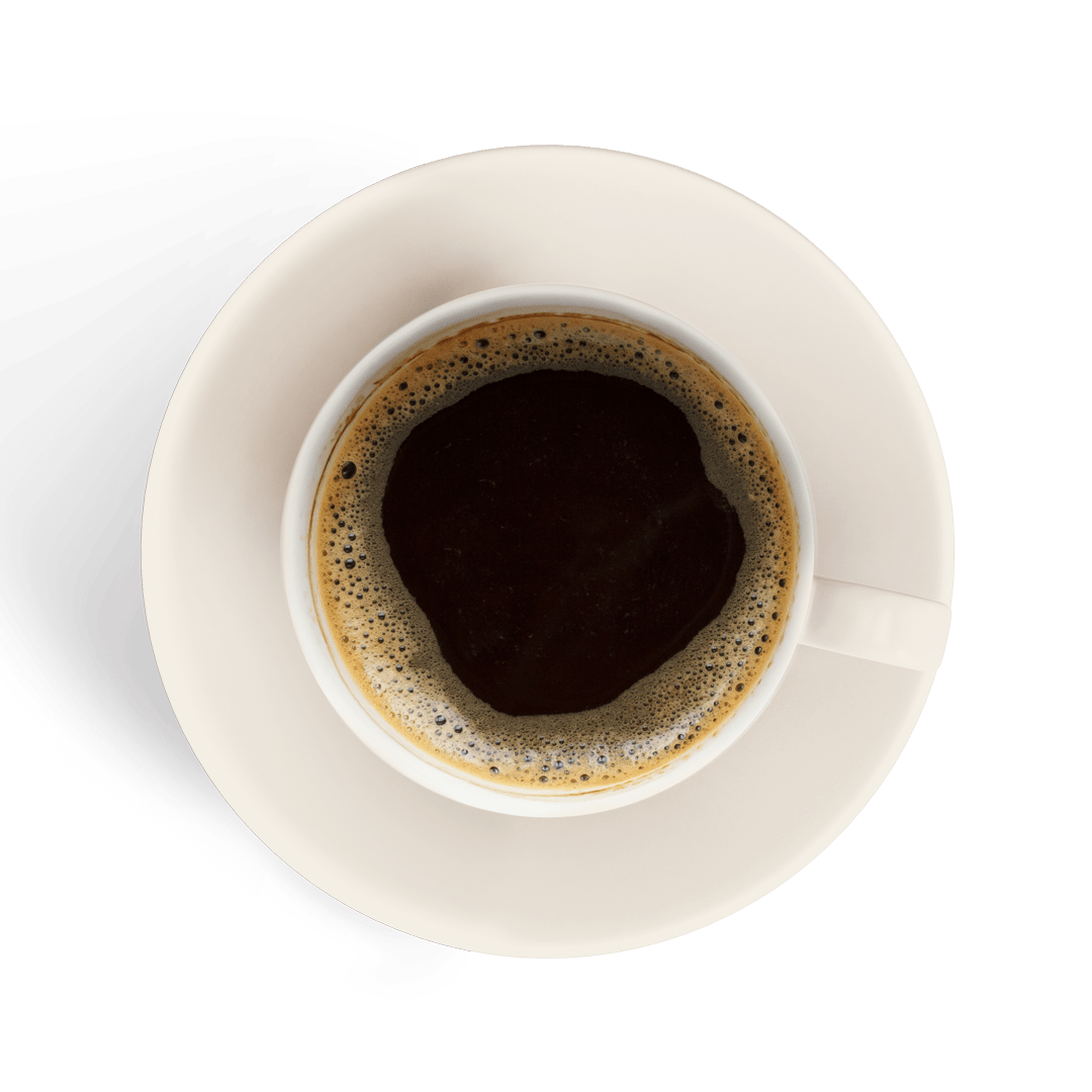 espresso in a white cup isolated