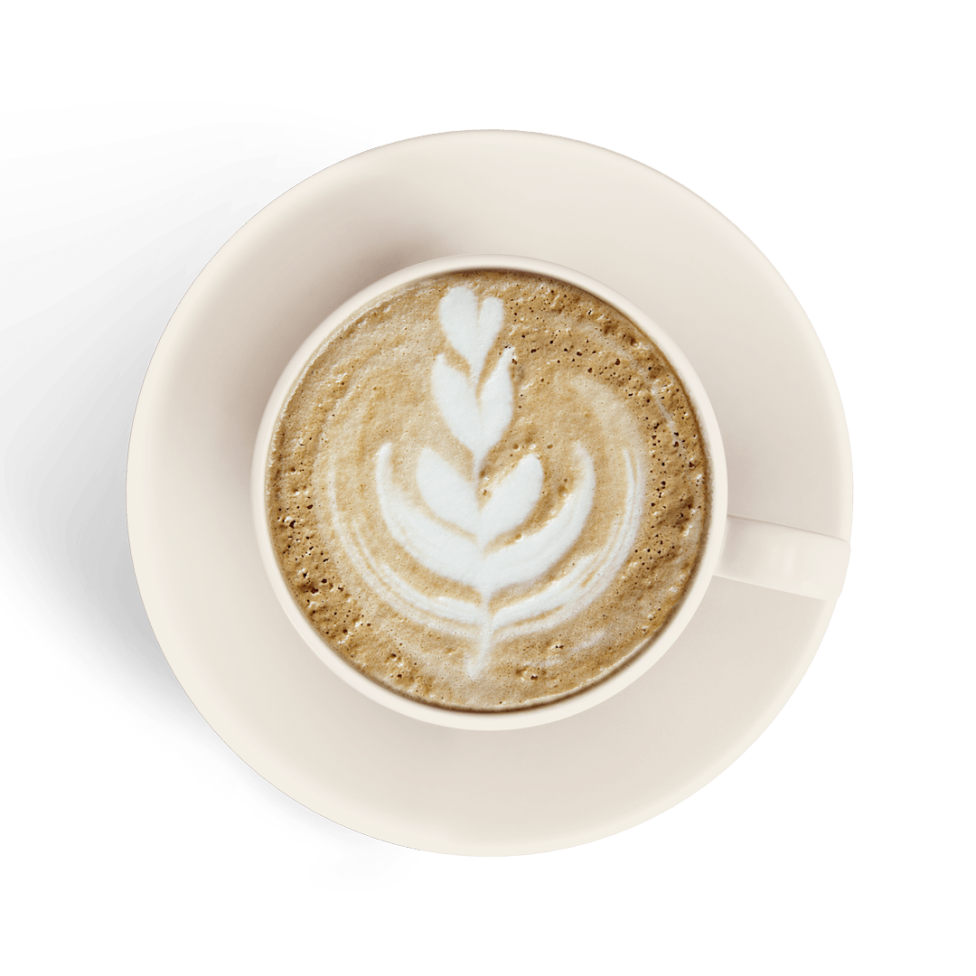 latte in a white cup isolated
