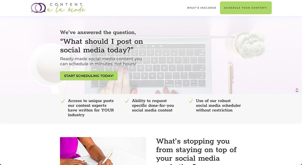 screenshot of content a la mode's website home page